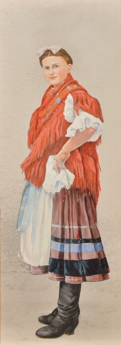 Woman from Köröstárkány in folk costume,1912. Enlarged colour rendering of a photograph by István Györffy, tempera, 49x20 cm. Museum of Ethnography, R 10586